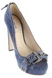 Miu Miu Denim Belted Platform Blue Pumps