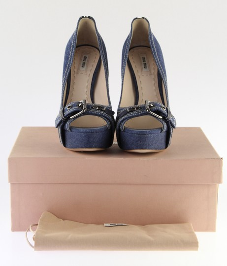 Miu Miu Denim Belted Platform Blue Pumps Image 1