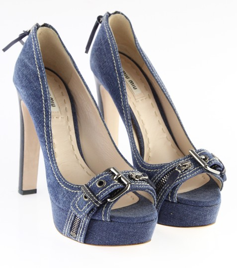 Miu Miu Denim Belted Platform Blue Pumps Image 2