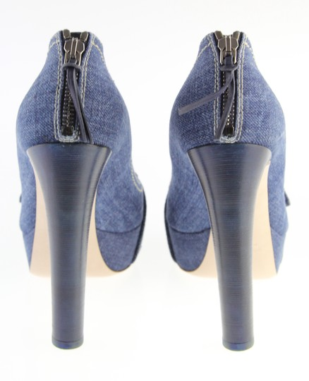 Miu Miu Denim Belted Platform Blue Pumps Image 3
