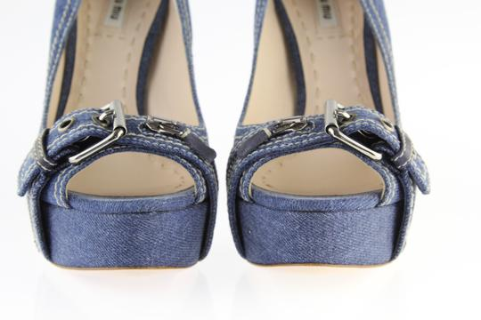 Miu Miu Denim Belted Platform Blue Pumps Image 4