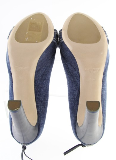 Miu Miu Denim Belted Platform Blue Pumps Image 6