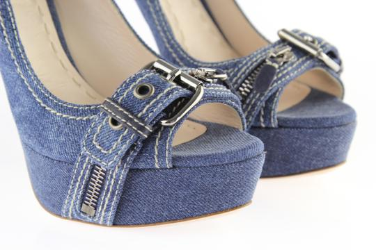 Miu Miu Denim Belted Platform Blue Pumps Image 7