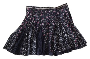 Free People Mini Skirt Black with flower printed