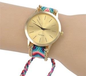 Geneva Multi Colored Braided Gold Tone Quartz Watch Free Shipping