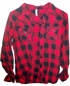 Full Tilt Button Down Shirt Red and black