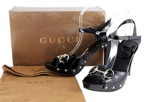 Gucci Patent Leather Peep Toe Black Pumps
