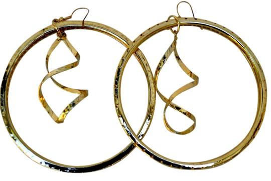 Other Extra Large Gold Plate Swirling Hoop Earrings