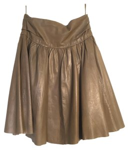 Zara Flirty Winter Date Night Mini Skirt Dark Taupe