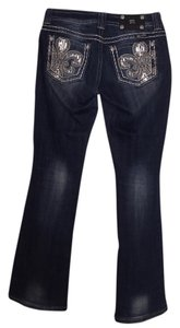 Miss Me Leather Boot Cut Jeans-Dark Rinse