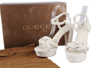 Gucci Leather Pumps Open Toe Cream Platforms