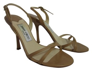 Jimmy Choo Leather Strappy Buckle Nude Sandals