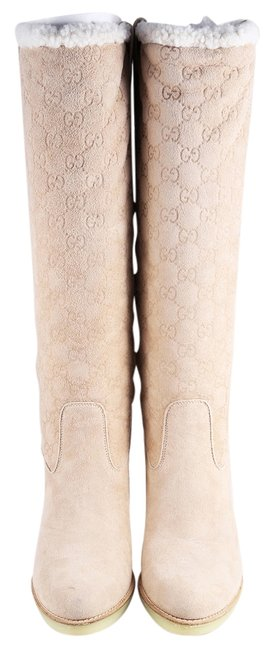 Gucci Beige * Guccissima Suede and Shearling Boots/Booties Size US 9.5 Regular (M, B) Gucci Beige * Guccissima Suede and Shearling Boots/Booties Size US 9.5 Regular (M, B) Image 1
