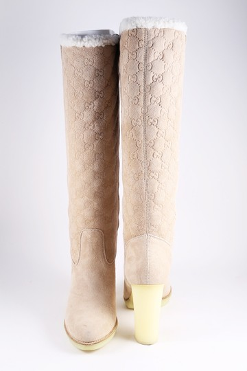 Gucci Suede Tall Monogram Faux Fur Beige Boots Image 1