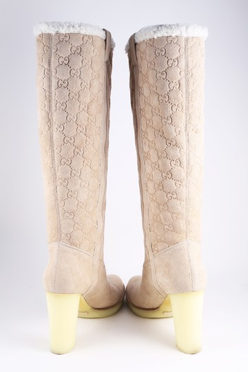 Gucci Suede Tall Monogram Faux Fur Beige Boots Image 2