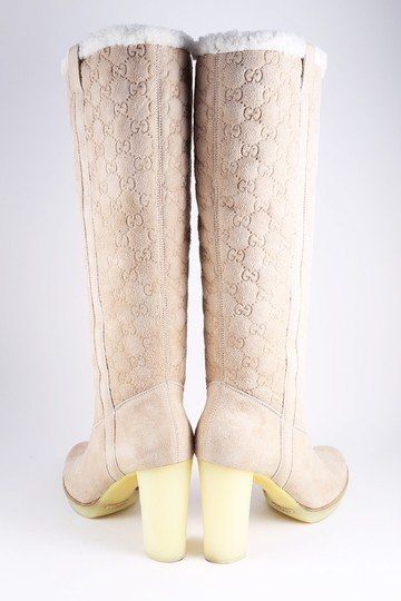 Gucci Suede Tall Monogram Faux Fur Beige Boots Image 3