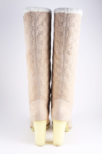 Gucci Suede Tall Monogram Faux Fur Beige Boots Image 4