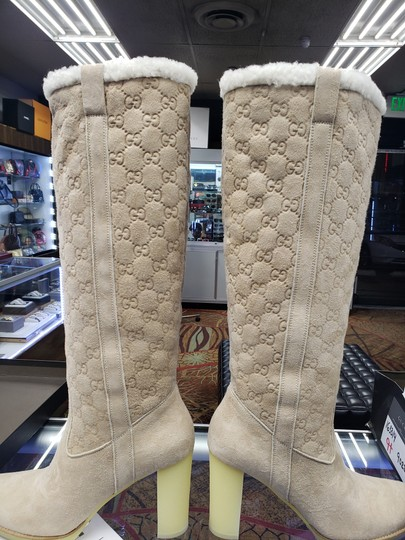 Gucci Suede Tall Monogram Faux Fur Beige Boots Image 6