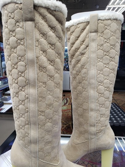 Gucci Suede Tall Monogram Faux Fur Beige Boots Image 7