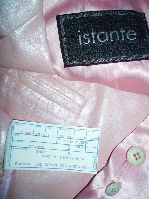 Versace Versace Baby Pink Leather Short Suit