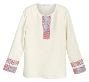Tory Burch Embroidered Linen Tunic