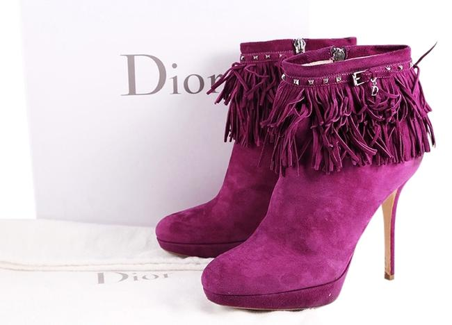 Dior Purple Suede Ankle Fringe Boots/Booties Size US 8 Regular (M, B) Dior Purple Suede Ankle Fringe Boots/Booties Size US 8 Regular (M, B) Image 1
