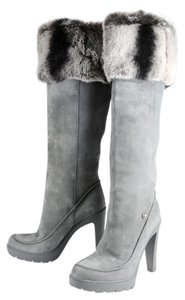 Dior Fur Rabbit Winter Suede Gray Boots