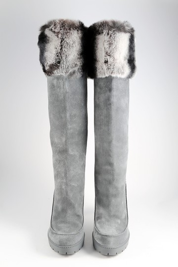 Dior Fur Rabbit Winter Suede Gray Boots Image 1