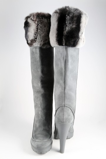 Dior Fur Rabbit Winter Suede Gray Boots Image 2