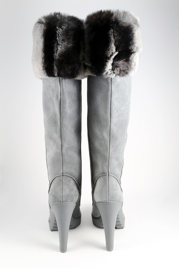 Dior Fur Rabbit Winter Suede Gray Boots Image 3
