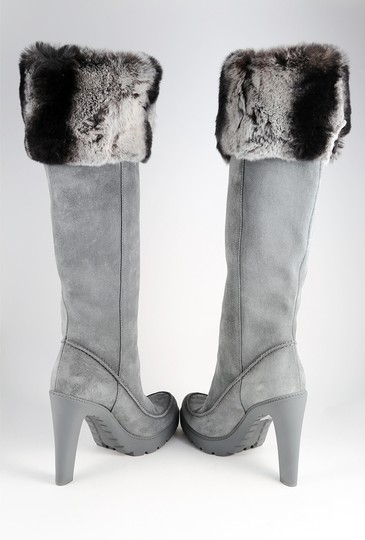 Dior Fur Rabbit Winter Suede Gray Boots Image 4