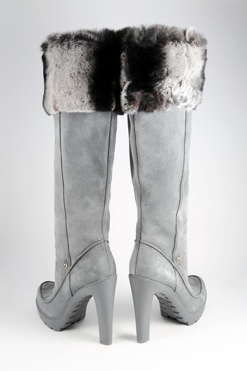 Dior Fur Rabbit Winter Suede Gray Boots Image 5