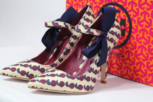 Tory Burch Bow Print Mary Jane Rare Multicolor Pumps Image 4