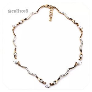 Faux Pearl Antique Gold Bronze Necklace/ Choker