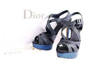 Dior Satin Sequence Scrappy Open Toe Blue Platforms