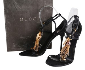 Gucci Chain Ankle Strap Satin Gold Black Sandals