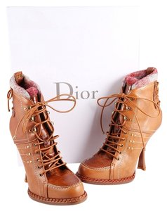 Dior Leather Lace Up Brown Boots