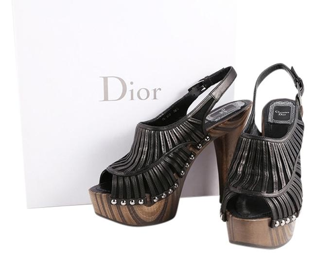 Dior Multicolor Black Strappy Peep Toe Wooden Platforms Sandals Size US 8.5 Regular (M, B) Dior Multicolor Black Strappy Peep Toe Wooden Platforms Sandals Size US 8.5 Regular (M, B) Image 1