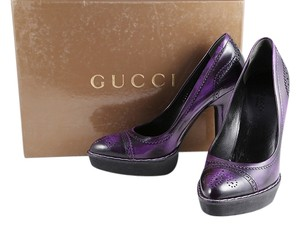 Gucci Black Rubber Leather Purple Platforms