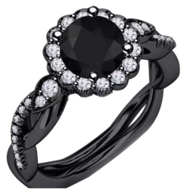 Blac 1ct Agate Cz Gold Filled Ring Blac 1ct Agate Cz Gold Filled Ring Image 1