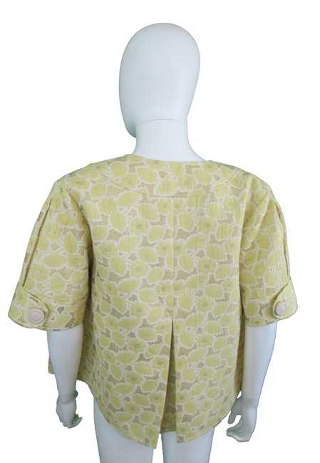 Vera Wang Lavender Label Brocade Floral Gold Yellow Jacket