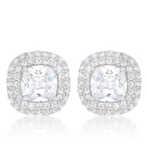 A. A. A. Cz Cushion Pave Stud Earring