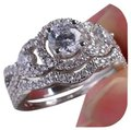 Silver 4ctw 2pc Sparkly Wedding Set Ring Silver 4ctw 2pc Sparkly Wedding Set Ring Image 1