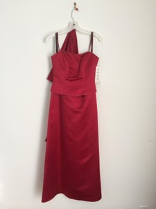 Bill Levkoff Deep Red Polyester Traditional Bridesmaid/Mob Dress Size 4 (S)