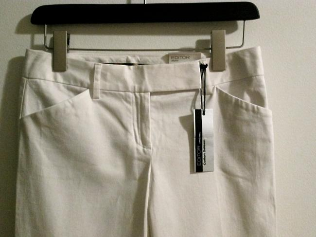 Express Leg Fitted Low-rise Tailored Work Sateen Dress Signature Flare Pants White