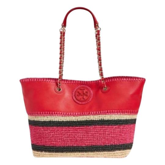 Preload https://img-static.tradesy.com/item/11379175/tory-burch-marion-crochet-eastwest-ruby-jewel-leatherstraw-tote-0-4-540-540.jpg