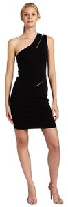 Halston One Shoulder Zipper Dress