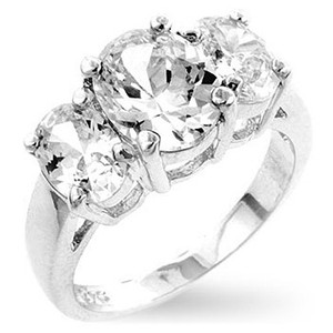 A. A. A. Triplet Ring With Oval Cut Clear Cubic Zirconia