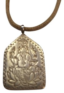 Me & Ro Sterling Silver Ganesha Pendant on Natural Cord
