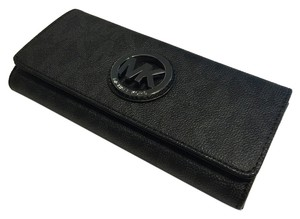 Michael Kors Michael Kors Fulton Flap Leather Clutch Wallet Signature MK Black PVC